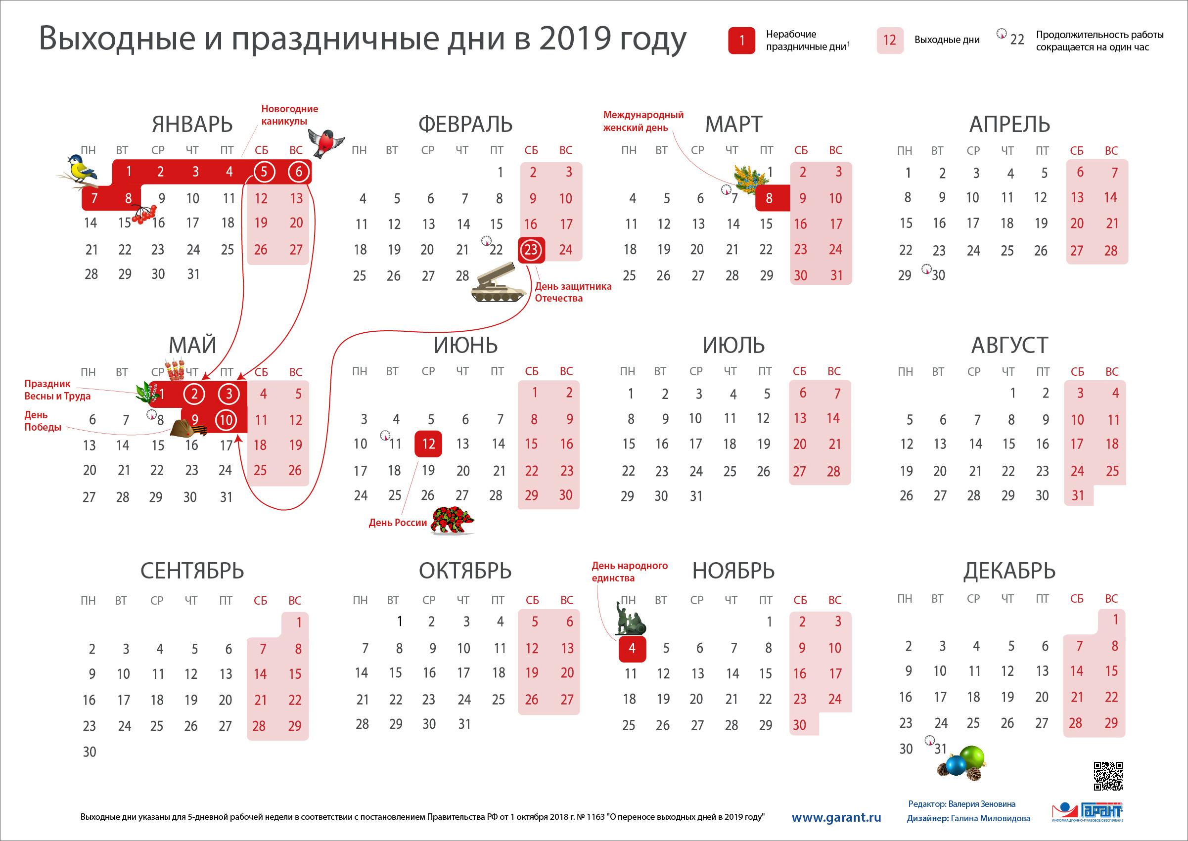 Выходные и праздничные дни в 2019 году